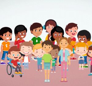Illustration mit vielen Kindern verschiedenen Geschlechts, Alters und äußeren Merkmalen